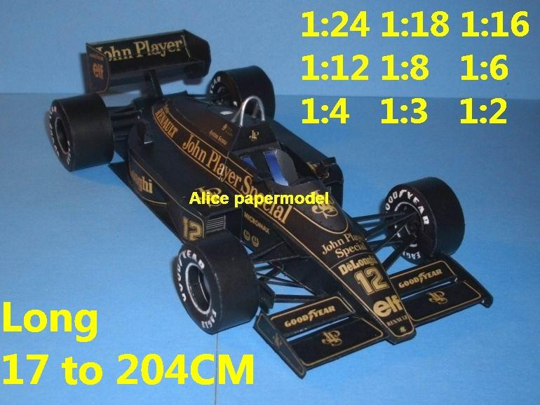 1:24 1:18 1:16 1:12 1:8 1:6 1:4 1:3 1:2 scale 1986 Lotus 98 98T team FIA Grands Prix Formula one 1 F1 F-1 Ferrari Mercedes Renault Honda racing papercraft sport vintage classic old car sedan big large scale size car model models on for sale store shop