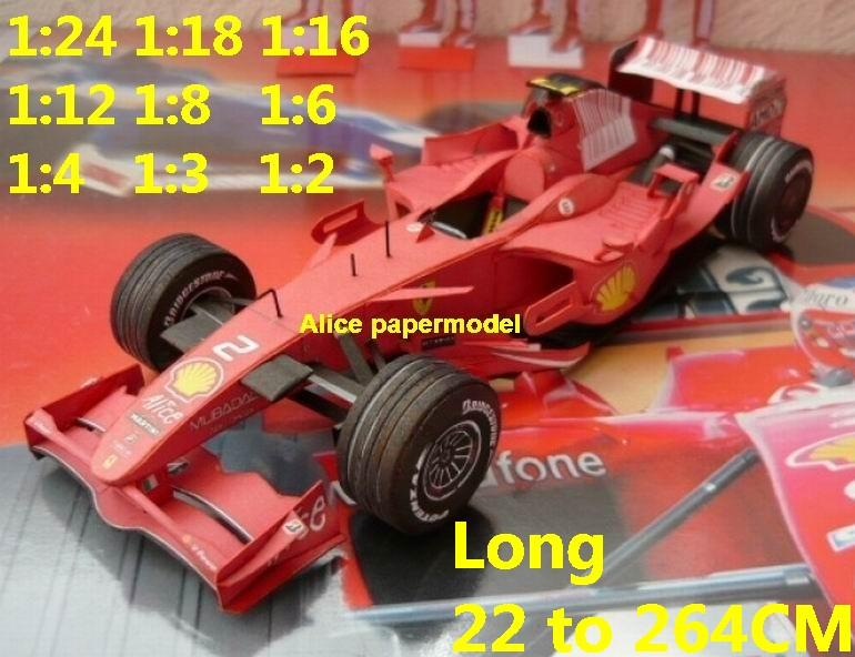 1:24 1:18 1:16 1:12 1:8 1:6 1:4 1:3 1:2 scale 2008 Ferrari F2008 team FIA Grands Prix Formula one 1 F1 F-1 Ferrari Mercedes Renault Honda racing papercraft sport vintage classic old car sedan big large scale size car models model for on sale shop store