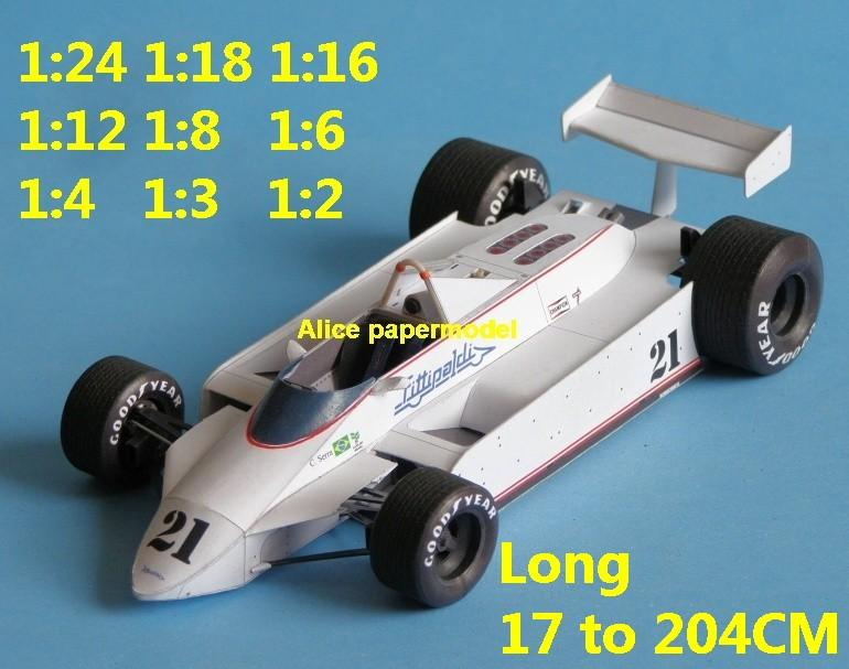 1:24 1:18 1:16 1:12 1:8 1:6 1:4 1:3 1:2 scale Fittipaldi F8 1980 team FIA Grands Prix Formula one 1 F1 F-1 Ferrari Mercedes Renault Honda racing papercraft sport vintage classic old car sedan big large scale size car models model on for sale store shop