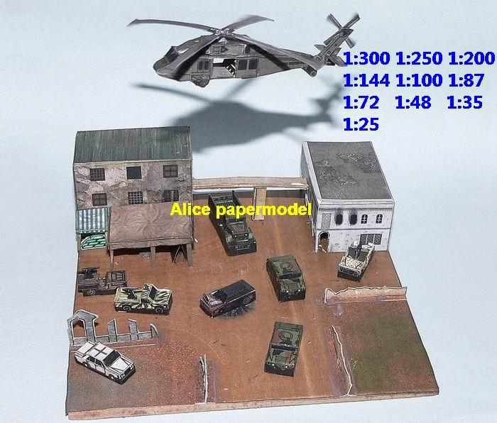 Diorama somali battle of Mogadishu Black Hawk Down small mini scale helicopter hummer jeep battlefield warzone model scene scenery models kit on for sale store shop