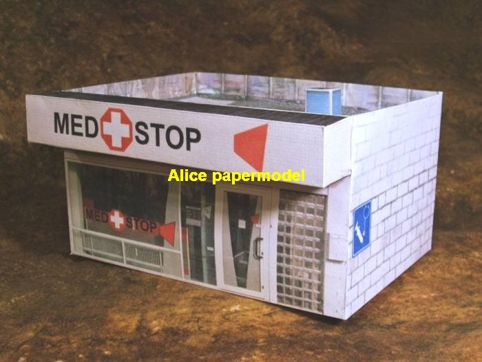 supermarket Clinic Hospital drug shop house battlefield city street fighting warzone war zone building scene abandon ruin Military Soldiers Soldier model diorama Scenery base models kit on for sale store shop