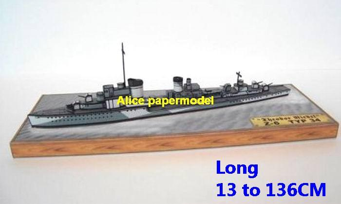 WWII German Germany Z6 Z-6 destoryer large scale size super big long battleship aircraft carrier missile frigate military warship ship boat paper models