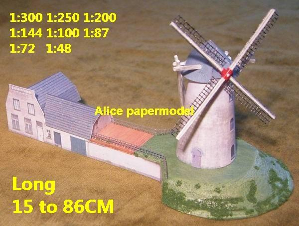 WWII dutch Europe windmill country countryside rural area village house villa ruin abandon battlefield warzone area Military Soldiers model scene diorama Scenery base models kit on for sale store shop