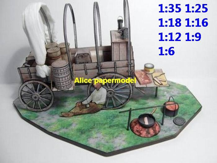 USA US westworld west Wilderness carriage Cowboy Chuckwagon Military Soldier scene model diorama Scenery base models kit on for sale store shop