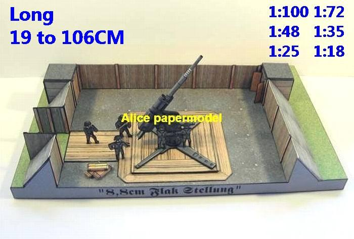 WWII German Germany 88MM 88 MM cm Flak Stellung battlefront anti-air gun canon position front frontline battlefield warzone Military Soldiers model scene diorama Scenery models kit on for sale store shop