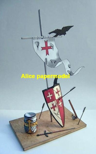Medival Europe Crusader knight shield sword ruin battlefield warzone Military Soldiers model scene diorama models kit on for sale store shop