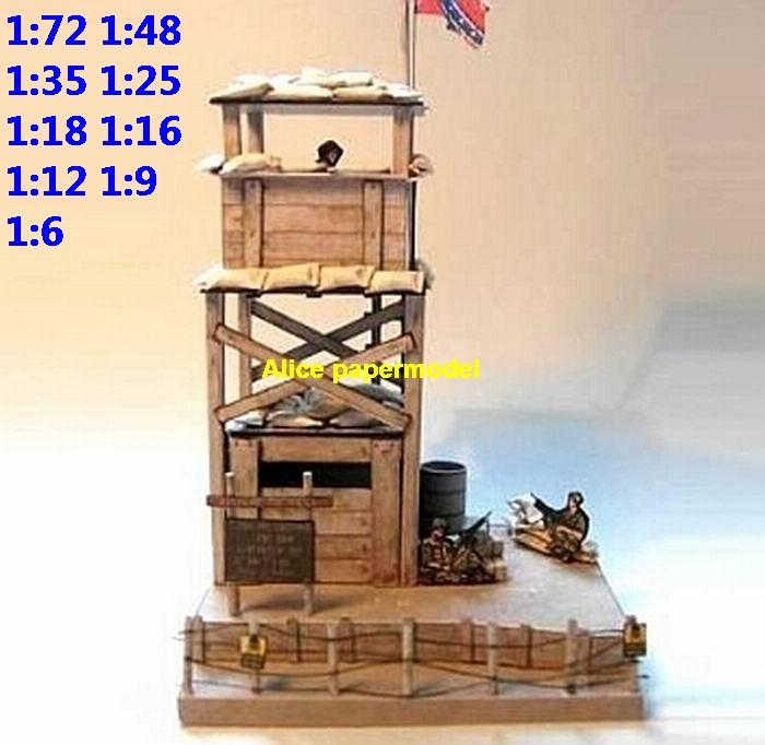 US USA fortress fort Watch Tower checkpoint pillbox Bunker battlefront battlefield warzone army Military Soldiers model scene diorama models kit on for sale store shop