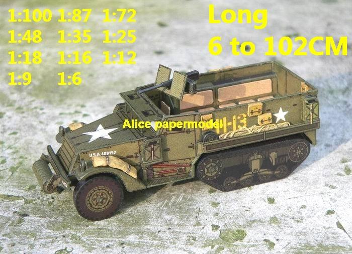 WWII WW2 US USA army M3 halftrack truck tank artillery MBT armored vehicle  vehicles car military big large scale size car model models soldiers