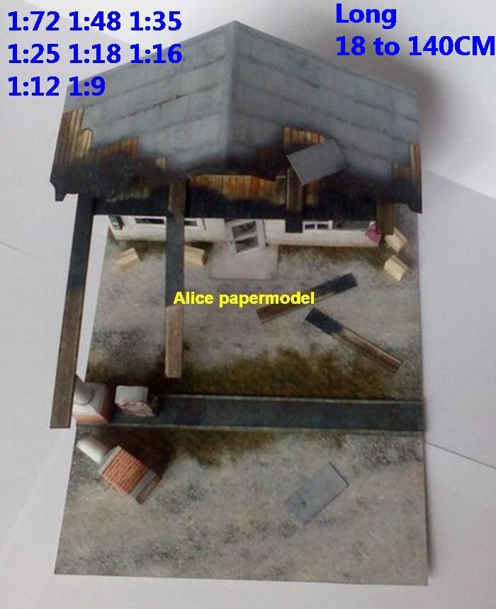end world ruin abandon garage gas oil station battle city village fighting war warzone battlefield building scene Military Soldiers model diorama Scenery base models kit on for sale store shop