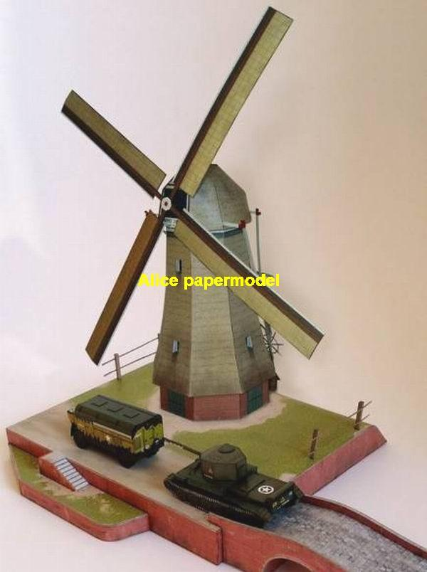 WWII Europe Holland windmill Cromwell tank battle village city fighting war warzone battlefield building scene ruin abandon Military Soldiers model diorama Scenery base models kit on for sale store shop