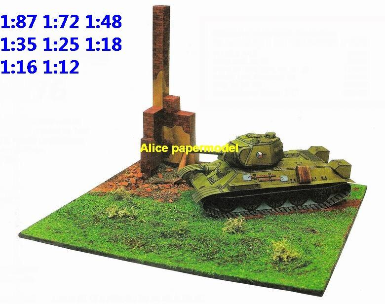 WWII Russia USSR T34 T-34 tank warzone battlefield building scene ruin abandon Military Soldiers model diorama Scenery base models kit on for sale store shop