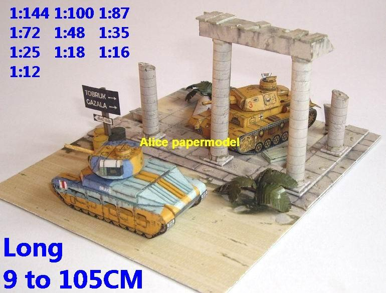 WWII German Panzer III vs UK Matilda tank battle afrika africa city house village fighting war warzone battlefield building scene ruin abandon Military Soldiers model diorama Scenery base models kit on for sale store shop