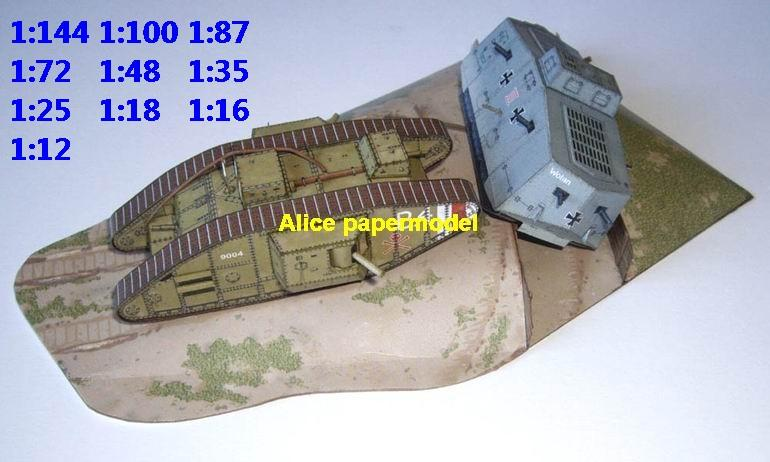 WWI UK Mark VI vs German A7V tank Trenches battle village city fighting war warzone battlefield building scene ruin abandon Military Soldiers model diorama Scenery base models kit on for sale store shop