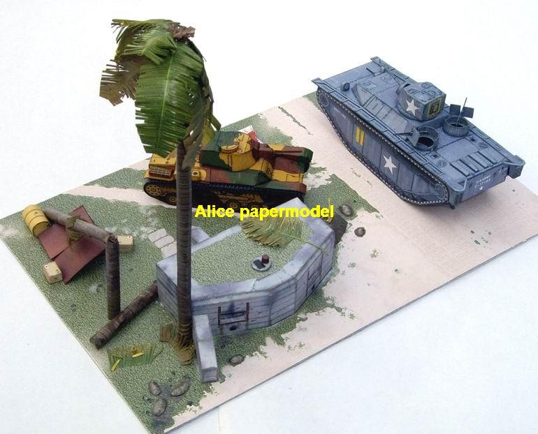WWII US LVT Amtrack vs Japan Type 1 chihe tank battle bunker Pacfic island War city fighting war battlefield warzone building scene ruin abandon Military Soldiers model diorama Scenery base models kit on for sale store shop