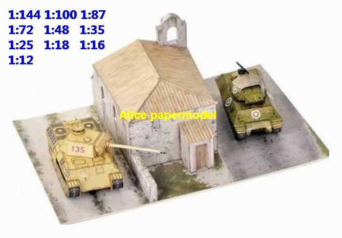 WWII Italy war US M10 GMC VS German panther tank battle city fighting warzone battlefield building scene ruin abandon Military Soldiers model diorama Scenery base models kit on for sale store shop
